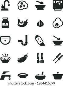 Solid Black Vector Icon Set - deep plate with a spoon vector, plates and spoons, iron fork, sink, siphon, knife, faucet mixer, kitchen, bowl of rice porridge, in saucepan, barbecue, chili, glass tea