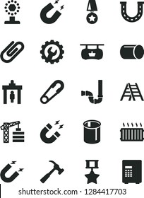 Solid Black Vector Icon Set - safety pin vector, tower crane, ladder, siphon, gear, hammer with claw, clip, magnet, pipe, pipes, aluminum radiator, antique advertising signboard, cup, star medal
