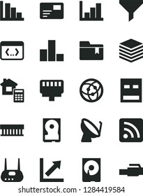 Solid Black Vector Icon Set - rss feed vector, bar chart, growth, negative histogram, positive, folder bookmark, estimate, pile, pass card, satellite dish, filter, radiator fan, hdd, usb, router