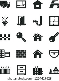 Solid Black Vector Icon Set - house vector, dwelling, brickwork, sink, siphon, laying out, lay of flat, key, city block, ceramic tiles, radiator, faucet mixer, nightstand, aluminum, light bulb