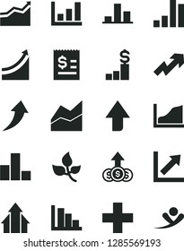 Solid Black Vector Icon Set - upward direction vector, growth up, plus, bar chart, line, positive histogram, leaves, article on the dollar, graph, arrow, arrows, pedestal, flying man