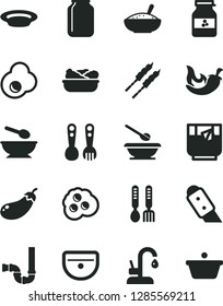 Solid Black Vector Icon Set - deep plate with a spoon vector, plates and spoons, plastic fork, iron, sink, siphon, knife, kitchen faucet, bowl of rice porridge, lettuce in, barbecue, chili, omelette