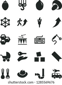 Solid Black Vector Icon Set - bookmark vector, keyboard, hat, baby stroller, plastic fork spoons, cubes for children, drumroll, winch hook, siphon, porcini, honeycombs, lime, tamarillo, gas welding