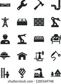 Solid Black Vector Icon Set - repair key vector, workman, brickwork, hook, concrete mixer, siphon, building level, helmet, brick, block, hammer with claw, home, working oil derrick, factory