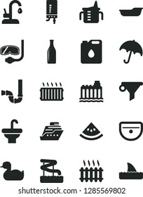 Solid Black Vector Icon Set - measuring cup for feeding vector, rubber duck, bath, washbasin, sink, siphon, kitchen faucet, electronic boiler, umbrella, slice of water melon, hydroelectricity