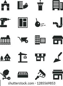 Solid Black Vector Icon Set - box of bricks vector, building trolley, trowel, concrete mixer, window, cordless drill, paint roller, siphon, buildings, city block, brick, core, kiosk, forest house