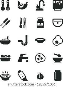 Solid Black Vector Icon Set - deep plate with a spoon vector, plastic fork spoons, iron, sink, siphon, knife, faucet mixer, kitchen, bowl of rice porridge, in saucepan, lettuce, barbecue, chili