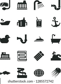 Solid Black Vector Icon Set - measuring cup for feeding vector, baby duckling, children's bathroom, bath, shower, siphon, sewerage, heating coil, anchor, small fish, a glass of soda, globe, aquapark