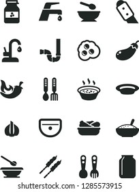 Solid Black Vector Icon Set - deep plate with a spoon vector, plates and spoons, plastic fork, iron, sink, siphon, knife, faucet mixer, kitchen, bowl of rice porridge, in saucepan, lettuce, barbecue