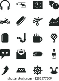 Solid Black Vector Icon Set - line chart vector, comb, hook, siphon, received letter, headphones, sausage, cup of tea, bottle soda, blueberries, jar, black clock, think, arrow up, helicopter, taxi