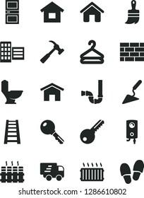Solid Black Vector Icon Set - house vector, dwelling, brickwork, building trowel, wooden paint brush, stepladder, toilet, siphon, key, interroom door, city block, radiator, boiler, hammer with claw