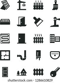 Solid Black Vector Icon Set - wooden paint brush vector, sink, siphon, laying out, ntrance door, interroom, city block, brick, putty knife, heating coil, radiator, new, electronic boiler, cast iron