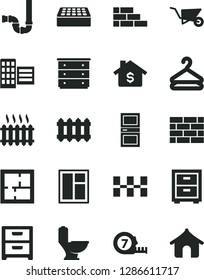 Solid Black Vector Icon Set - bedside table vector, chest of drawers, brickwork, brick wall, building trolley, window, long meashuring tape, toilet, siphon, laying out, interroom door, city block