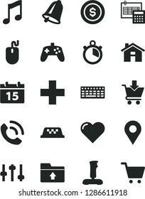 Solid Black Vector Icon Set - house vector, plus, upload folder, calculation, bell, calendar, heart, music, put in cart, phone call, location, mouse, keyboard, joystick, settings, stopwatch, taxi