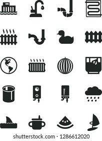 Solid Black Vector Icon Set - mug for feeding vector, rubber duck, rainy cloud, siphon, sewerage, heating coil, new radiator, kitchen faucet, boiler, electronic, a glass of tea, water melon, slice