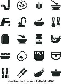 Solid Black Vector Icon Set - deep plate with a spoon vector, plates and spoons, plastic fork, iron, sink, siphon, faucet mixer, kitchen, bowl of rice porridge, lettuce in, barbecue, chili, omelette