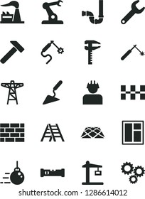 Solid Black Vector Icon Set - brickwork vector, big core, building trowel, window, ladder, siphon, construction level, ceramic tiles, pavement, hammer, factory, power pole, builder, crane, welding