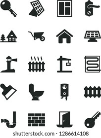 Solid Black Vector Icon Set - house vector, brickwork, building trolley, window, toilet, siphon, door knob, putty knife, heating coil, new radiator, boiler, key, Construction crane, cast iron, exit