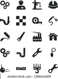 Solid Black Vector Icon Set - house vector, workman, winch hook, arm saw, measuring tape, new roller, siphon, sewerage, building level, tile, construction helmet, plummet, core, industrial, gears