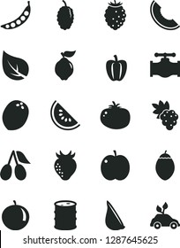 Solid Black Vector Icon Set - tomato vector, garlic, apple, grape, quince, strawberry, cornels, tasty raspberry, mulberry, slice of melon, water, tangerine, tamarillo, coconut, Bell pepper, peas