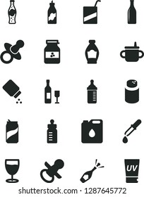 Solid Black Vector Icon Set - dummy vector, nipple, mug for feeding, bottle, measuring, powder, baby, e, glass, soda can, of, jar jam, liquor, canister oil, pipette, wine, champagne, uv cream