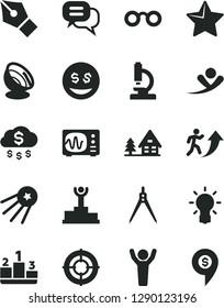 Solid Black Vector Icon Set - star vector, pedestal, microscope, glasses, bulb, oscilloscope, drawing compass, satellite antenna, ink pen, winner podium, man arrow up, hands, aim, dialog, money rain