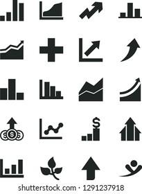 Solid Black Vector Icon Set - upward direction vector, growth up, plus, bar chart, line, graph, positive histogram, leaves, arrow, arrows, dollar pedestal, flying man