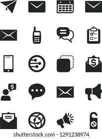 Solid Black Vector Icon Set - envelope vector, received letter, speech, smartphone, survey, megaphone, copy, loudspeaker, wall calendar, mobile phone, network, mail, dialog, paper plane, money