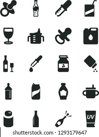 Solid Black Vector Icon Set - dummy vector, nipple, mug for feeding, measuring cup, bottle, powder, baby, e, glass, soda can, of, jar jam, canister oil, pipette, wine, champagne, uv cream