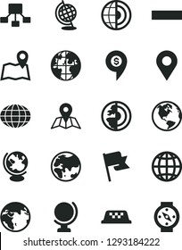 Solid Black Vector Icon Set - minus vector, map, globe, earth, flag, planet, location, hierarchical scheme, core, dollar pin, taxi, compass