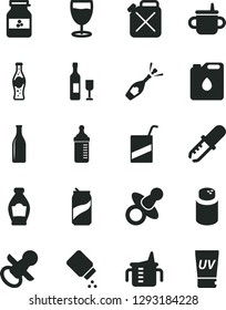 Solid Black Vector Icon Set - dummy vector, nipple, mug for feeding, measuring cup, bottle, powder, baby, e, glass, soda can, of, jar jam, canister, oil, pipette, wine, champagne, uv cream