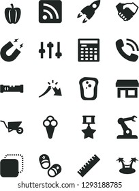 Solid Black Vector Icon Set - yardstick vector, rss feed, child shoes, building trolley, construction level, copy, cone, sandwich, Bell pepper, assembly robot, stall, a crisis, hand shake, settings
