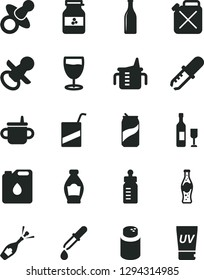 Solid Black Vector Icon Set - dummy vector, nipple, mug for feeding, measuring cup, bottle, powder, e, glass, soda can, of, jar jam, canister, oil, pipette, wine, champagne, uv cream
