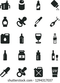 Solid Black Vector Icon Set - dummy vector, nipple, measuring cup for feeding, bottle, powder, baby, glass, of soda, jar jam, liquor, canister, oil, pipette, wine, champagne, uv cream