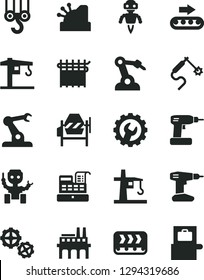 Solid Black Vector Icon Set - crane vector, winch hook, gears, concrete mixer, cordless drill, gear, industrial enterprise, conveyor, production, cloth industry, tower, gas welding, robot welder
