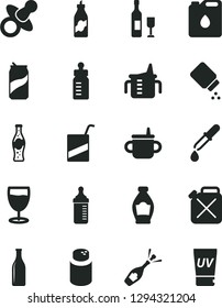 Solid Black Vector Icon Set - dummy vector, mug for feeding, measuring cup, bottle, powder, baby, e, glass, soda can, of, liquor, canister, oil, pipette, wine, champagne, uv cream