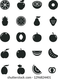 Solid Black Vector Icon Set - strawberry vector, peach, ripe, apple, red, slice of water melon, loquat, half, tangerine, tasty plum, passion fruit, lemon, pineapple, grapefruit, guava, persimmon
