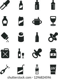 Solid Black Vector Icon Set - dummy vector, nipple, mug for feeding, bottle, measuring, powder, baby, e, glass, soda can, of, jar jam, liquor, canister, pipette, wine, champagne, uv cream