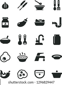 Solid Black Vector Icon Set - plates and spoons vector, plastic fork, iron, sink, siphon, faucet mixer, kitchen, a bowl of rice porridge, in saucepan, lettuce plate, barbecue, chili, fried egg, pan