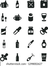 Solid Black Vector Icon Set - dummy vector, nipple, mug for feeding, measuring cup, bottle, powder, e, glass, of soda, jar jam, liquor, canister, oil, pipette, wine, champagne, uv cream