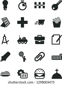 Solid Black Vector Icon Set - clip vector, stopwatch, plus, key, ceramic tiles, suitcase, notes, big burger, onion, French fries, light bulb, text highlighter, urgent cargo, keyboard, settings