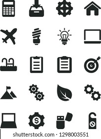 Solid Black Vector Icon Set - house vector, saving light bulb, put in a box, leaf, gear, notebook pc, usb flash, gears, clipboard, calculator, mountain flag, target, dollar, plane, pool