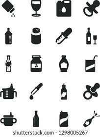 Solid Black Vector Icon Set - dummy vector, nipple, mug for feeding, measuring cup, bottle, powder, baby, e, glass, soda can, of, jar jam, liquor, canister oil, pipette, wine, champagne