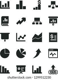 Solid Black Vector Icon Set - growth up vector, pie chart, bar, line, graph, negative histogram, positive, cardiogram, scheme, hierarchical, article on the dollar, charts, book statistics, board