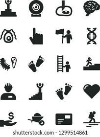 Solid Black Vector Icon Set - footprints vector, children's tracks, workman, garden trolley, heart, index finger, pass card, lens, get a wage, dna, brain, bactery, artifical insimination, backpacker