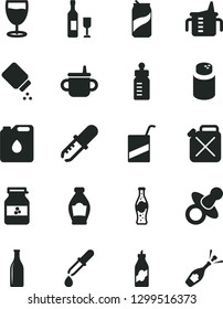 Solid Black Vector Icon Set - dummy vector, mug for feeding, measuring cup, bottle, powder, baby, e, glass, soda can, of, jar jam, liquor, canister, oil, pipette, wine, champagne