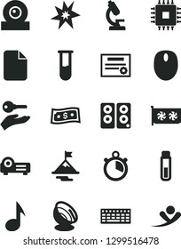 Solid Black Vector Icon Set - mouse vector, keyboard, cpu, gpu card, web camera, pc speaker, projector, note, file, test tube, microscope, satellite antenna, stopwatch, patente, bang, motivation