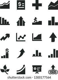 Solid Black Vector Icon Set - upward direction vector, growth up, plus, bar chart, line, graph, positive histogram, leaves, article on the dollar, financial report, carrer stairway, arrow, arrows