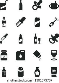 Solid Black Vector Icon Set - dummy vector, nipple, mug for feeding, measuring bottle, powder, baby, e, glass, soda can, of, jar jam, liquor, canister oil, pipette, wine, champagne, uv cream