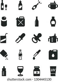 Solid Black Vector Icon Set - nipple vector, mug for feeding, measuring cup, bottle, powder, baby, e, glass, of soda, jar jam, liquor, canister, oil, pipette, wine, champagne, uv cream